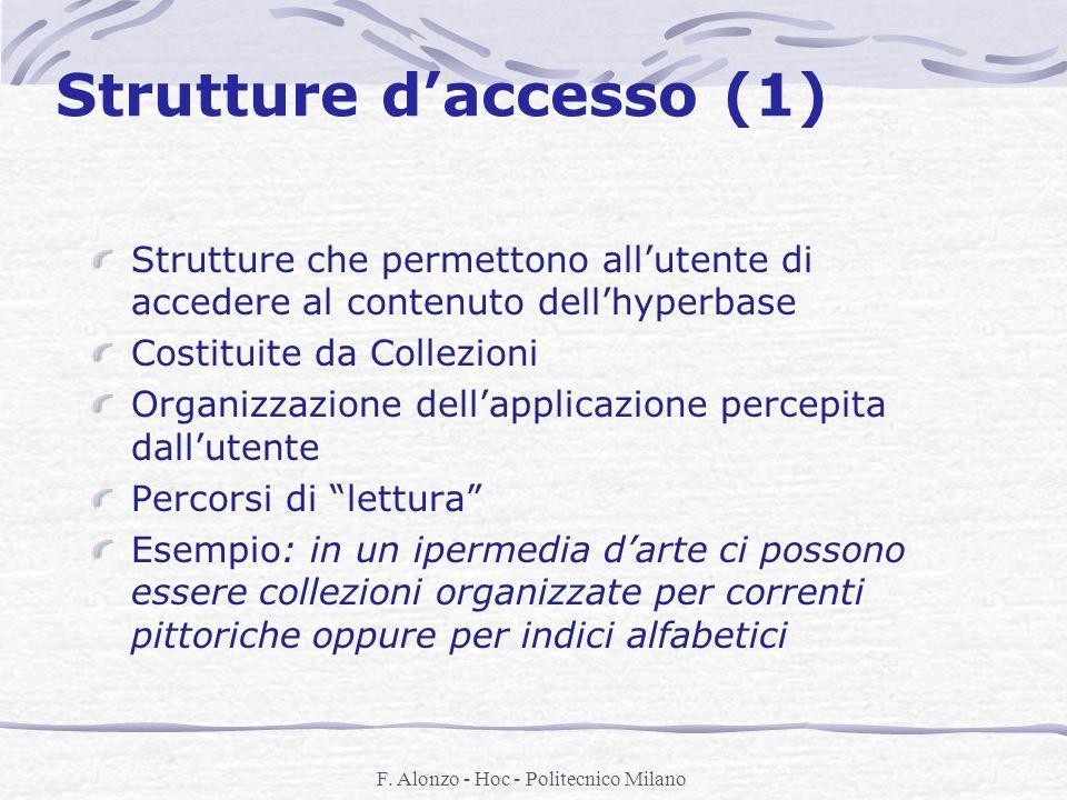 F. Alonzo - Hoc - Politecnico Milano Strutture daccesso (1) Strutture che permettono allutente di accedere al contenuto dellhyperbase Costituite da Co