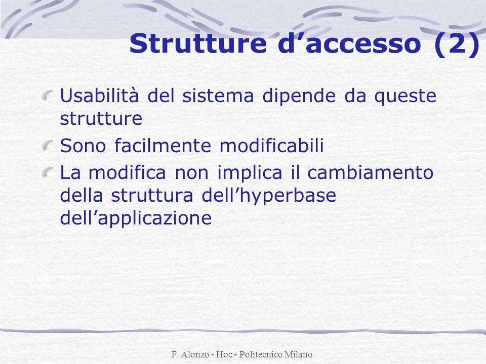 F. Alonzo - Hoc - Politecnico Milano Strutture daccesso (2) Usabilità del sistema dipende da queste strutture Sono facilmente modificabili La modifica