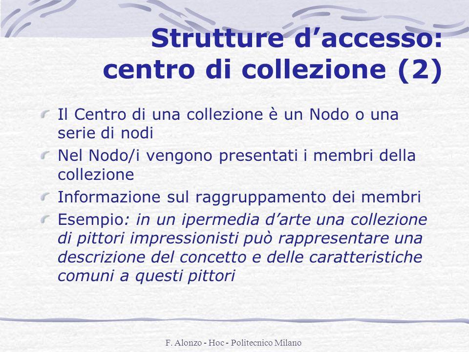F. Alonzo - Hoc - Politecnico Milano Strutture daccesso: centro di collezione (2) Il Centro di una collezione è un Nodo o una serie di nodi Nel Nodo/i