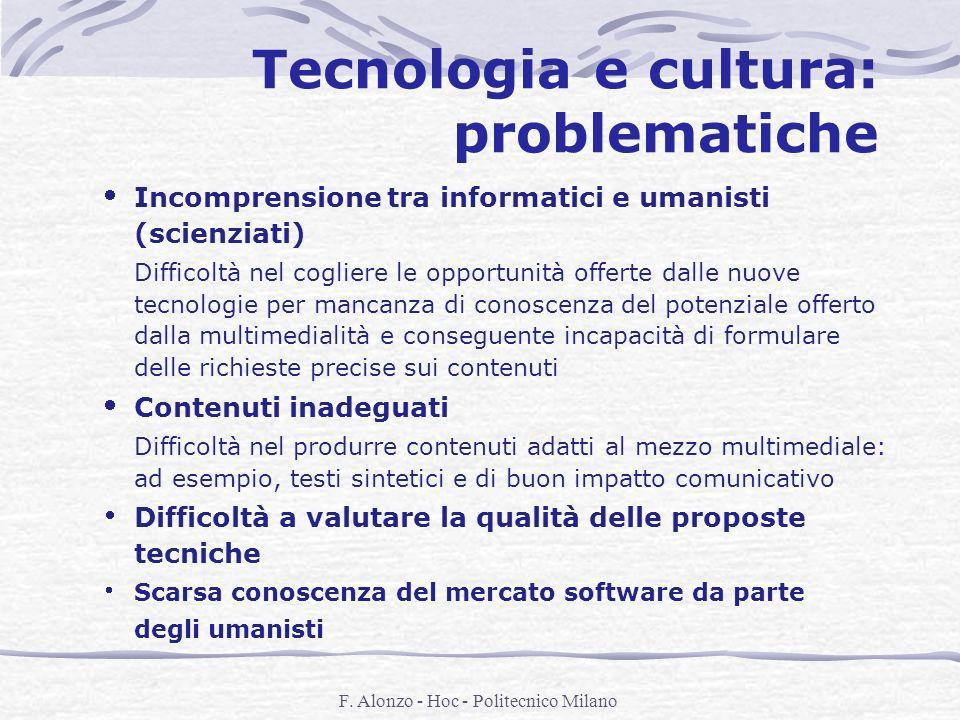 F. Alonzo - Hoc - Politecnico Milano Tecnologia e cultura: problematiche Incomprensione tra informatici e umanisti (scienziati) Difficoltà nel coglier