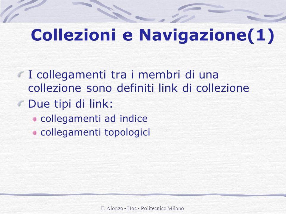 F. Alonzo - Hoc - Politecnico Milano Collezioni e Navigazione(1) I collegamenti tra i membri di una collezione sono definiti link di collezione Due ti
