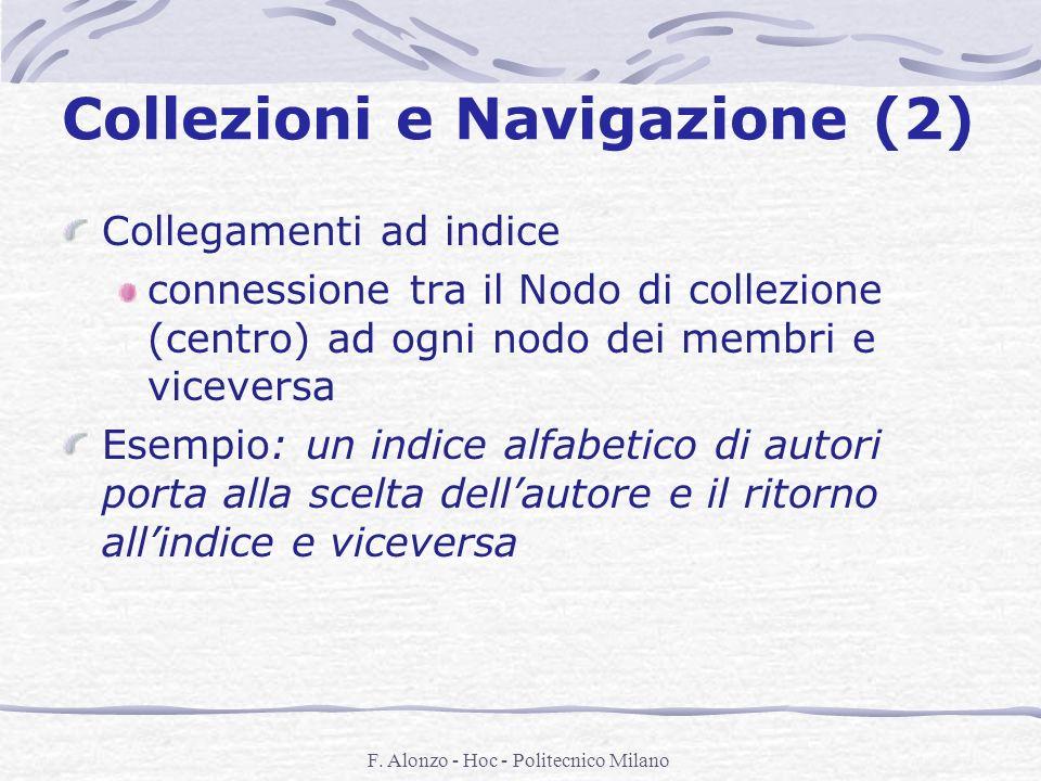 F. Alonzo - Hoc - Politecnico Milano Collezioni e Navigazione (2) Collegamenti ad indice connessione tra il Nodo di collezione (centro) ad ogni nodo d