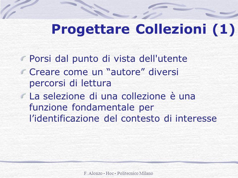 F. Alonzo - Hoc - Politecnico Milano Progettare Collezioni (1) Porsi dal punto di vista dell'utente Creare come un autore diversi percorsi di lettura