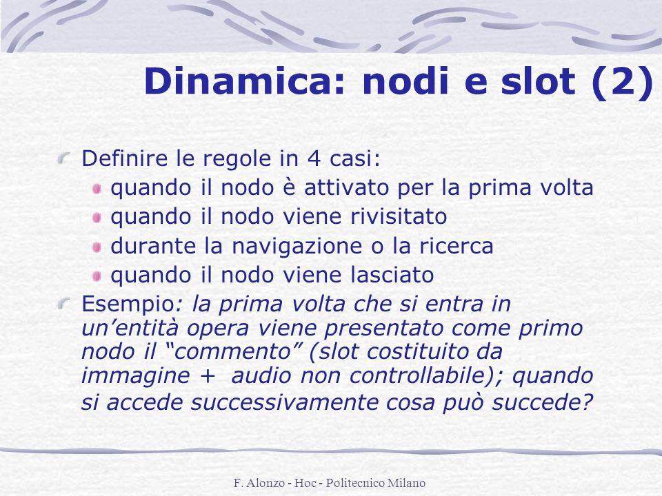 F. Alonzo - Hoc - Politecnico Milano Dinamica: nodi e slot (2) Definire le regole in 4 casi: quando il nodo è attivato per la prima volta quando il no