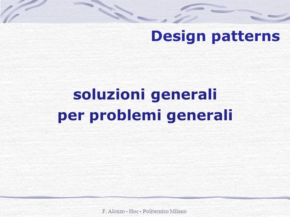 F. Alonzo - Hoc - Politecnico Milano Design patterns soluzioni generali per problemi generali