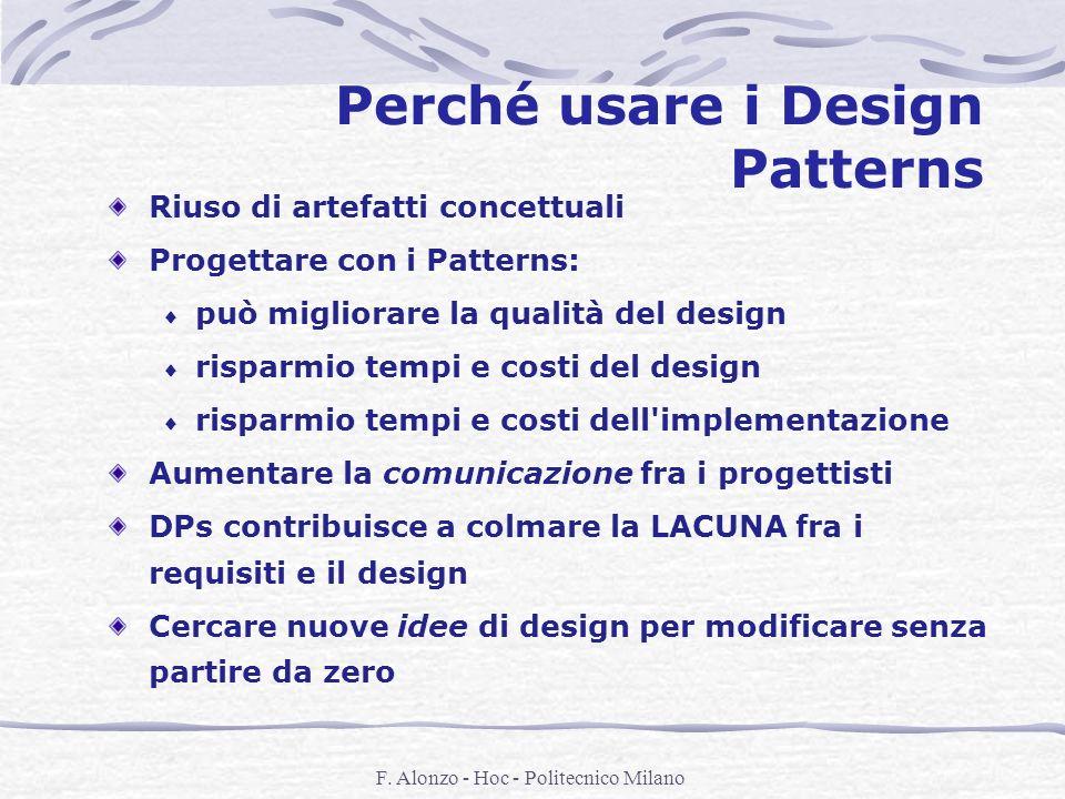 F. Alonzo - Hoc - Politecnico Milano Perché usare i Design Patterns Riuso di artefatti concettuali Progettare con i Patterns: può migliorare la qualit