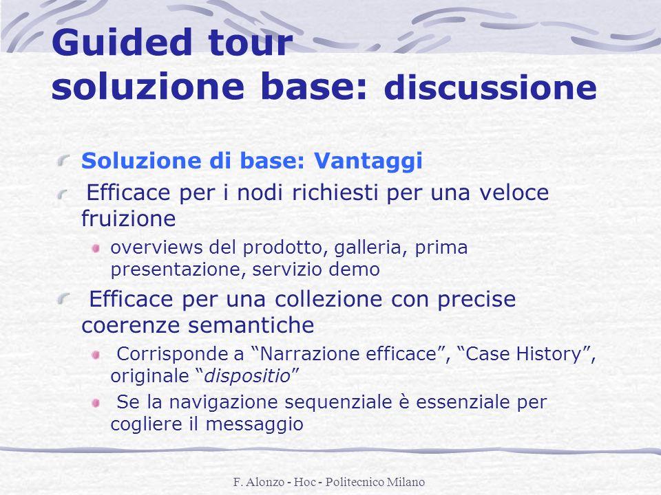 F. Alonzo - Hoc - Politecnico Milano Guided tour soluzione base: discussione Soluzione di base: Vantaggi Efficace per i nodi richiesti per una veloce