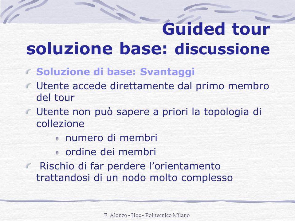 F. Alonzo - Hoc - Politecnico Milano Guided tour soluzione base: discussione Soluzione di base: Svantaggi Utente accede direttamente dal primo membro
