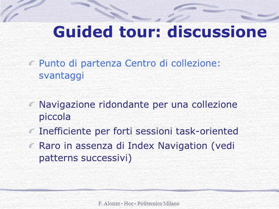 F. Alonzo - Hoc - Politecnico Milano Guided tour: discussione Punto di partenza Centro di collezione: svantaggi Navigazione ridondante per una collezi