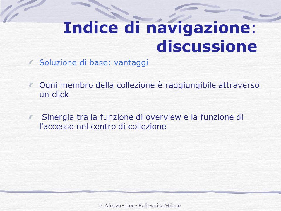 F. Alonzo - Hoc - Politecnico Milano Indice di navigazione: discussione Soluzione di base: vantaggi Ogni membro della collezione è raggiungibile attra