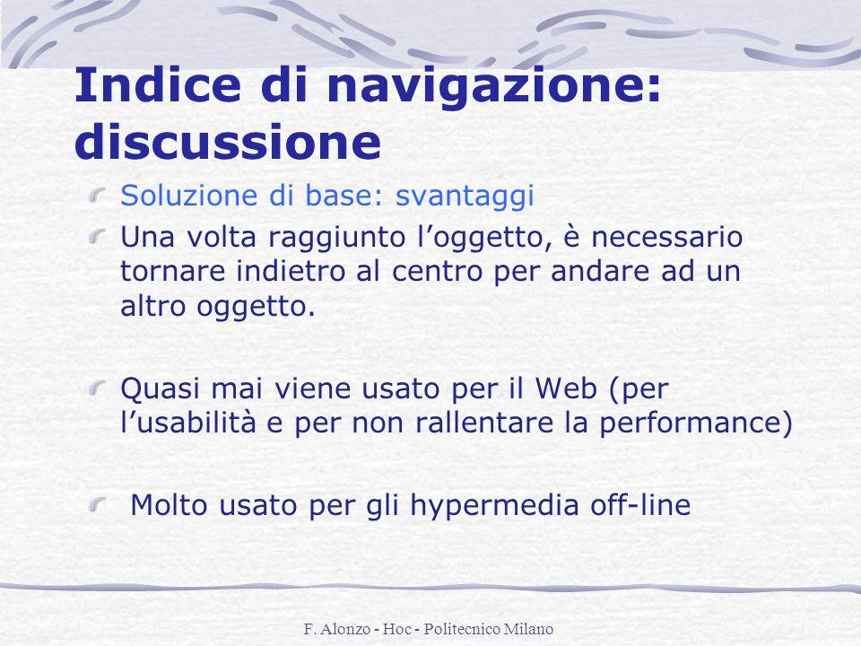 F. Alonzo - Hoc - Politecnico Milano Indice di navigazione: discussione Soluzione di base: svantaggi Una volta raggiunto loggetto, è necessario tornar