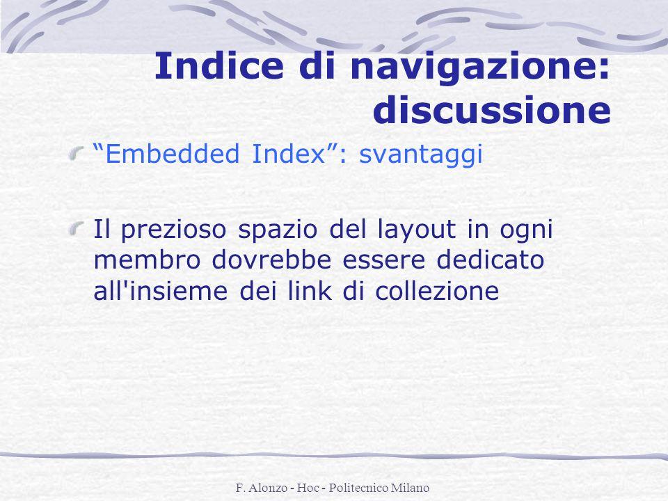 F. Alonzo - Hoc - Politecnico Milano Indice di navigazione: discussione Embedded Index: svantaggi Il prezioso spazio del layout in ogni membro dovrebb