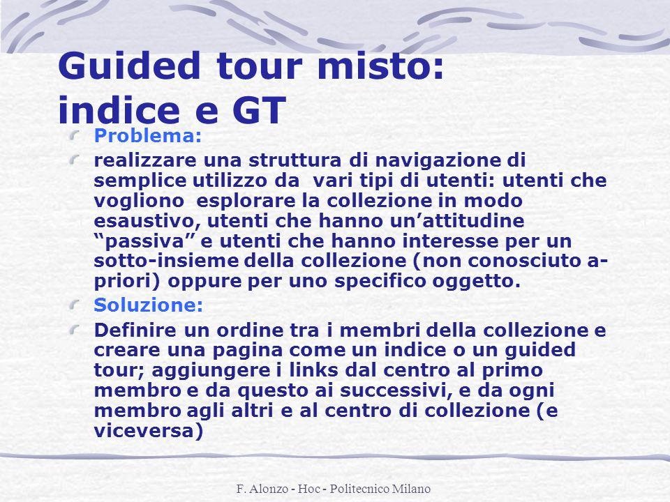 F. Alonzo - Hoc - Politecnico Milano Guided tour misto: indice e GT Problema: realizzare una struttura di navigazione di semplice utilizzo da vari tip