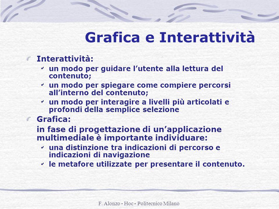 F. Alonzo - Hoc - Politecnico Milano Grafica e Interattività Interattività: un modo per guidare lutente alla lettura del contenuto; un modo per spiega
