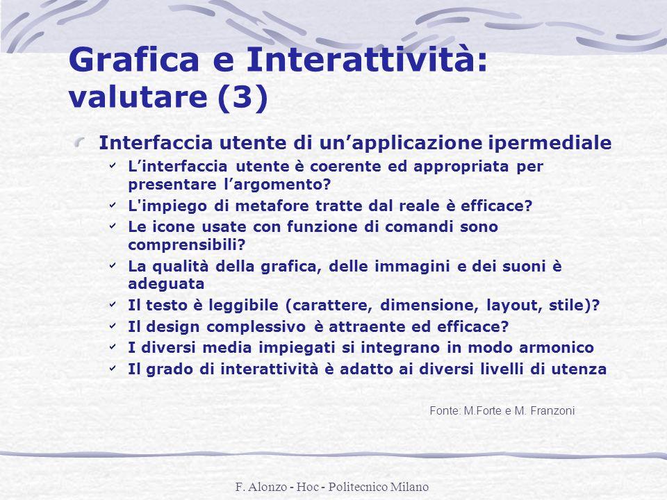 F. Alonzo - Hoc - Politecnico Milano Grafica e Interattività: valutare (3) Interfaccia utente di unapplicazione ipermediale Linterfaccia utente è coer