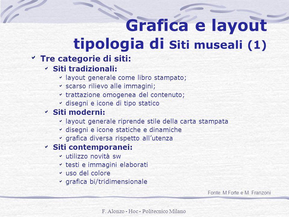 F. Alonzo - Hoc - Politecnico Milano Grafica e layout tipologia di Siti museali (1) Tre categorie di siti: Siti tradizionali: layout generale come lib