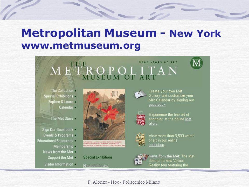 F. Alonzo - Hoc - Politecnico Milano Metropolitan Museum - New York www.metmuseum.org