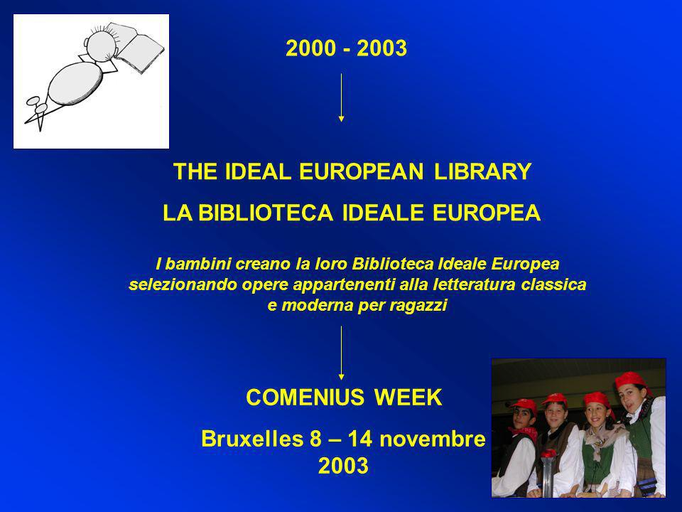 2000 - 2003 THE IDEAL EUROPEAN LIBRARY LA BIBLIOTECA IDEALE EUROPEA COMENIUS WEEK Bruxelles 8 – 14 novembre 2003 I bambini creano la loro Biblioteca I