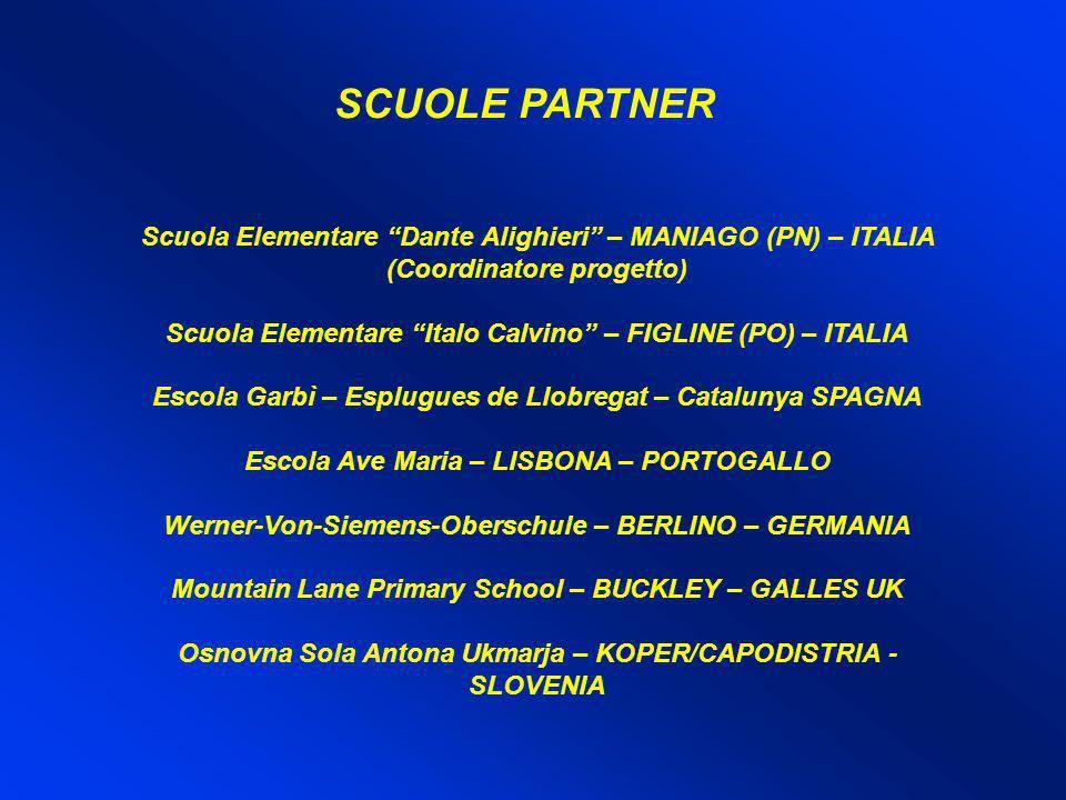 SCUOLE PARTNER Scuola Elementare Dante Alighieri – MANIAGO (PN) – ITALIA (Coordinatore progetto) Scuola Elementare Italo Calvino – FIGLINE (PO) – ITAL