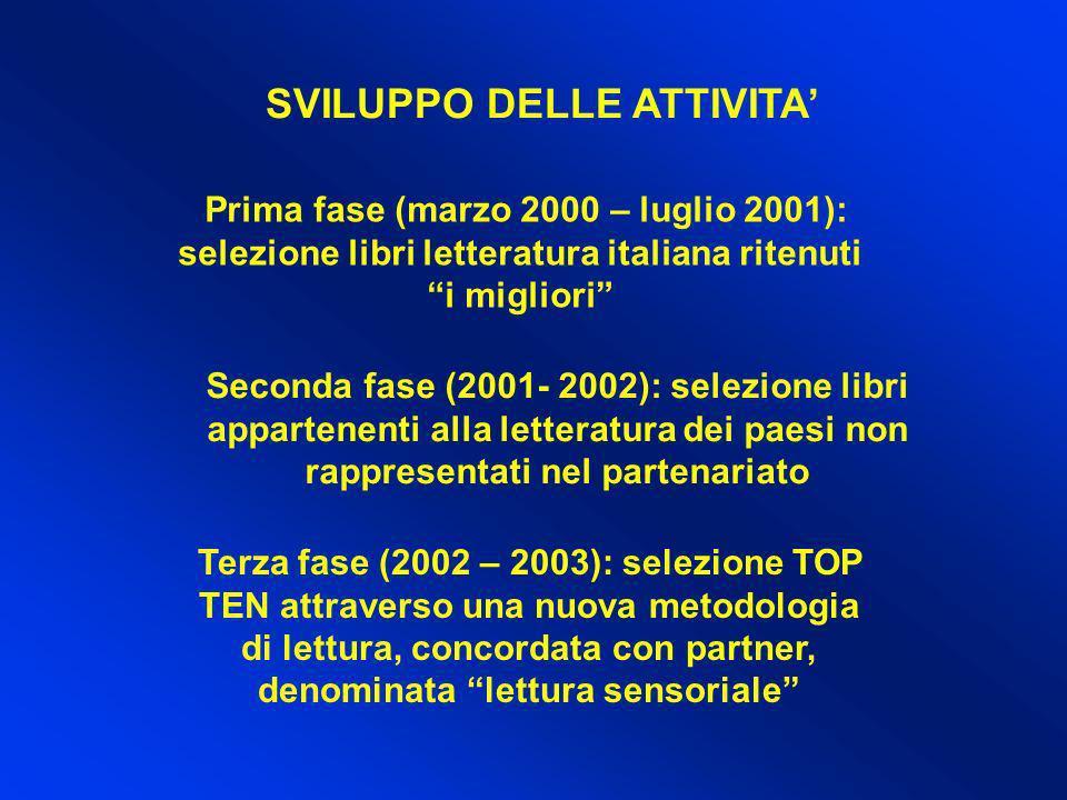Prima fase (marzo 2000 – luglio 2001): selezione libri letteratura italiana ritenuti i migliori Seconda fase (2001- 2002): selezione libri appartenent