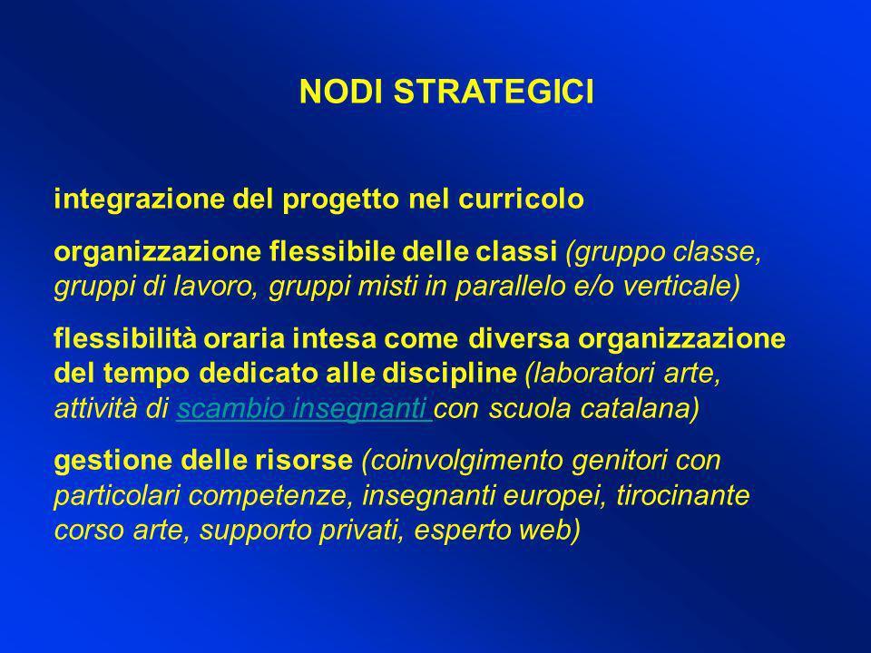 NODI STRATEGICI integrazione del progetto nel curricolo organizzazione flessibile delle classi (gruppo classe, gruppi di lavoro, gruppi misti in paral