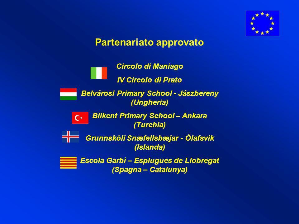 Partenariato approvato Circolo di Maniago IV Circolo di Prato Belvárosi Primary School - Jászbereny (Ungheria) Bilkent Primary School – Ankara (Turchi