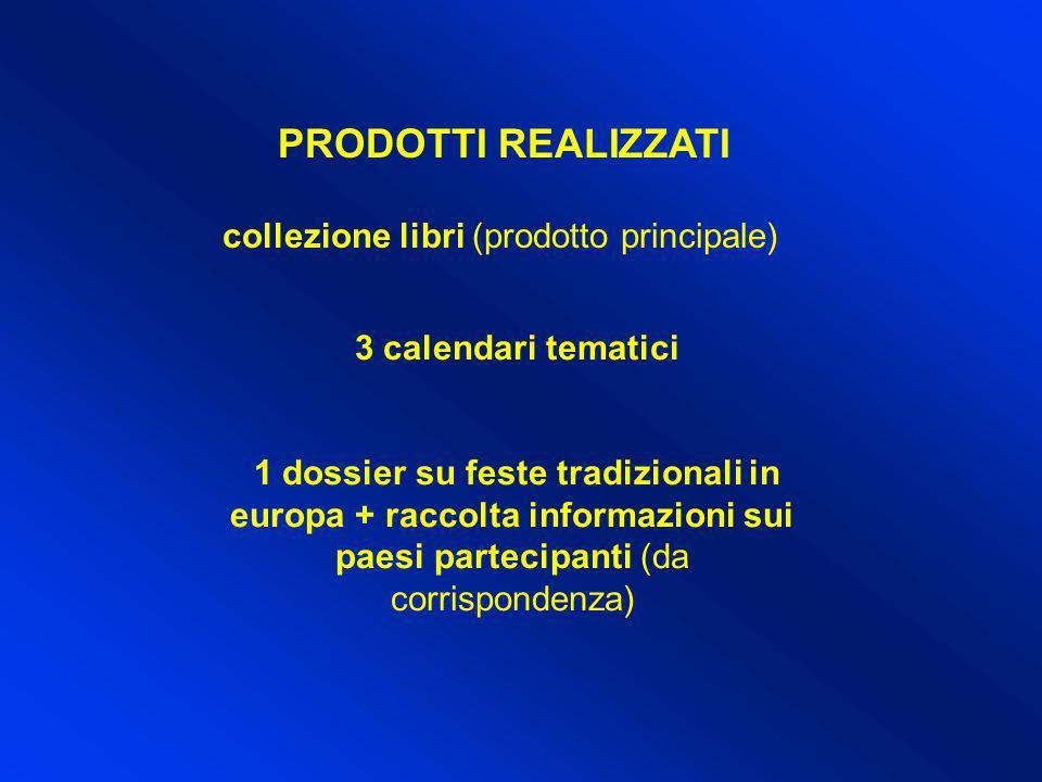 PRODOTTI REALIZZATI collezione libri (prodotto principale) 3 calendari tematici 1 dossier su feste tradizionali in europa + raccolta informazioni sui