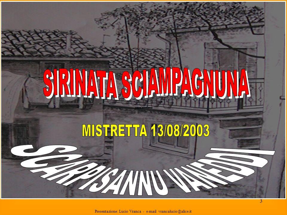 13 Presentazione: Lucio Vranca - e-mail vrancalucio@alice.it