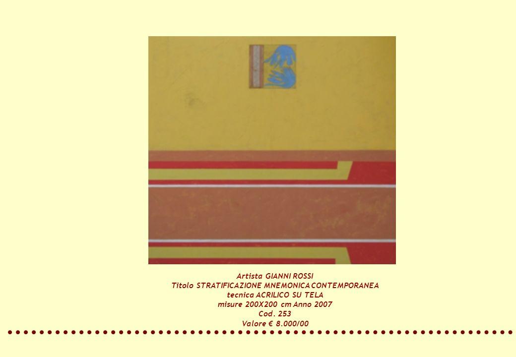 Artista GIANNI ROSSI Titolo STRATIFICAZIONE MNEMONICA CONTEMPORANEA tecnica ACRILICO SU TELA misure 200X200 cm Anno 2007 Cod. 253 Valore 8.000/00