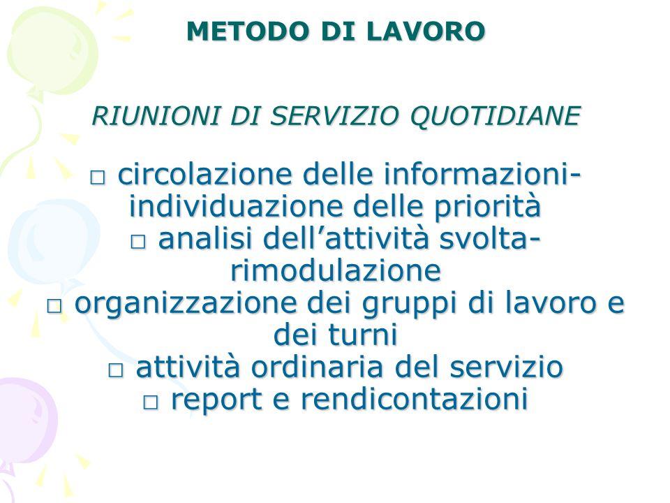 METODO DI LAVORO RIUNIONI DI SERVIZIO QUOTIDIANE circolazione delle informazioni- individuazione delle priorità analisi dellattività svolta- rimodulaz