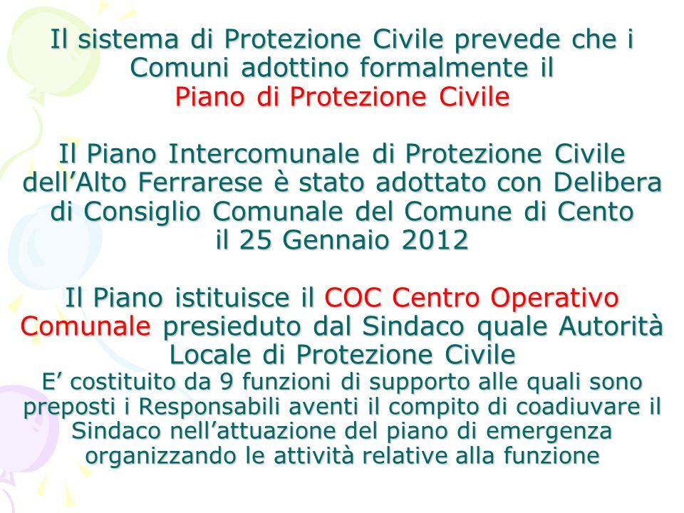 Il sistema di Protezione Civile prevede che i Comuni adottino formalmente il Piano di Protezione Civile Il Piano Intercomunale di Protezione Civile de