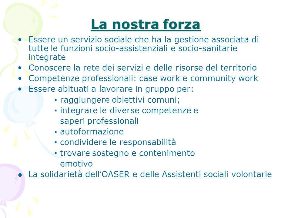 La nostra forza Essere un servizio sociale che ha la gestione associata di tutte le funzioni socio-assistenziali e socio-sanitarie integrate Conoscere