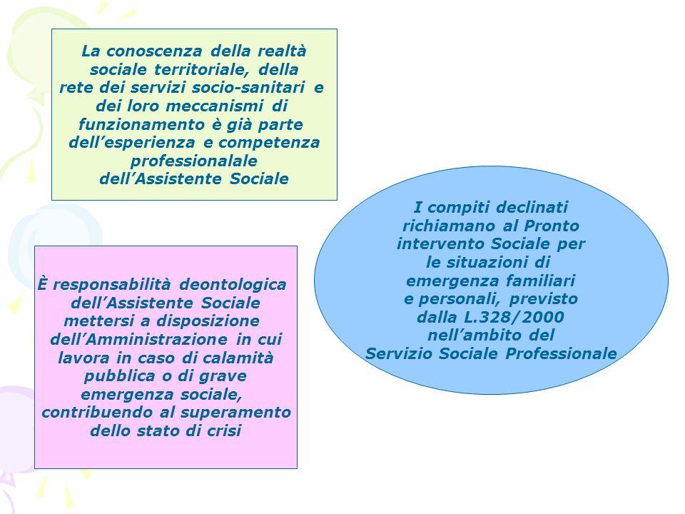 La conoscenza della realtà sociale territoriale, della rete dei servizi socio-sanitari e dei loro meccanismi di funzionamento è già parte dellesperien