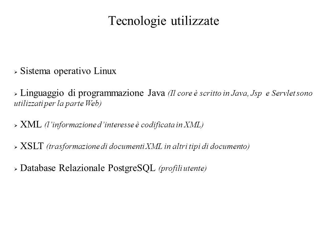 Tecnologie utilizzate Sistema operativo Linux Linguaggio di programmazione Java (Il core è scritto in Java, Jsp e Servlet sono utilizzati per la parte Web) XML (linformazione dinteresse è codificata in XML) XSLT (trasformazione di documenti XML in altri tipi di documento) Database Relazionale PostgreSQL (profili utente)