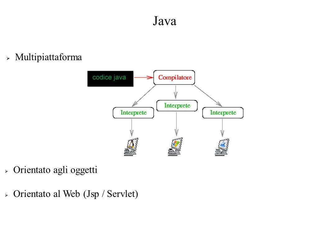 Java Multipiattaforma Orientato agli oggetti Orientato al Web (Jsp / Servlet)