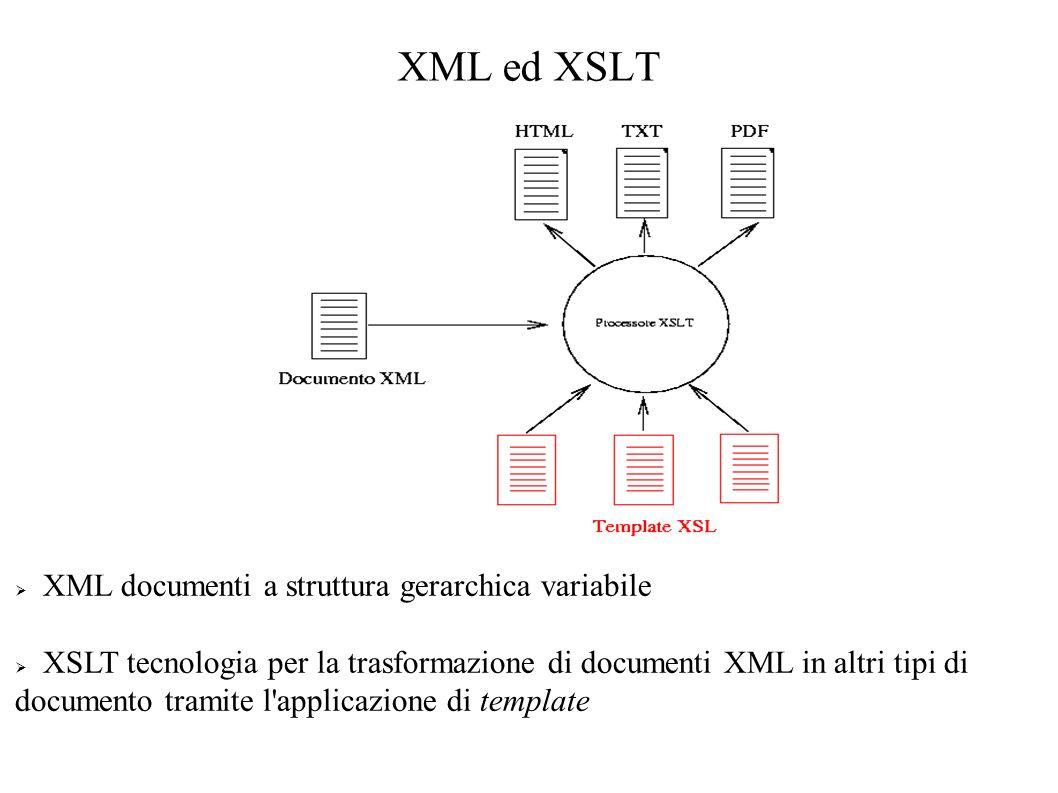 XML ed XSLT XML documenti a struttura gerarchica variabile XSLT tecnologia per la trasformazione di documenti XML in altri tipi di documento tramite l applicazione di template