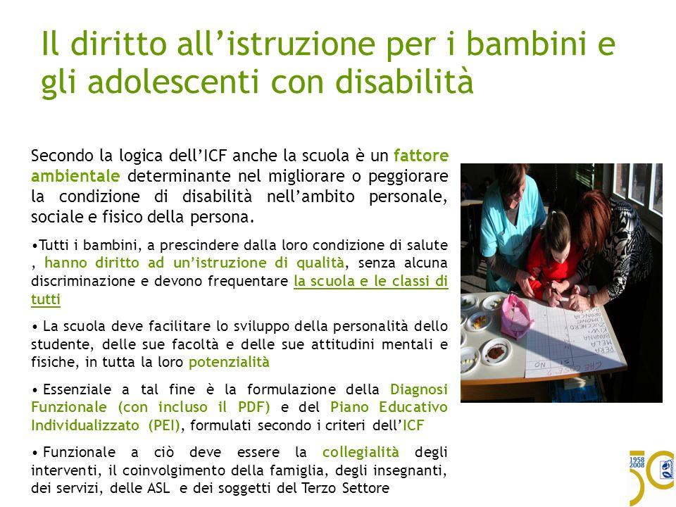 Il diritto allistruzione per i bambini e gli adolescenti con disabilità Secondo la logica dellICF anche la scuola è un fattore ambientale determinante