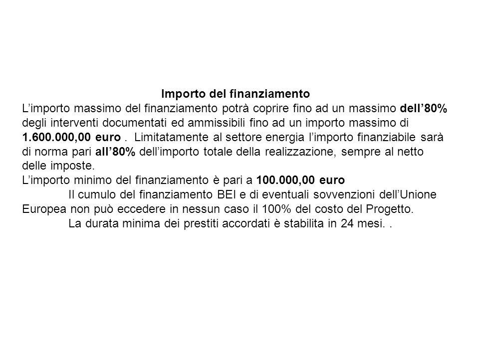 Importo del finanziamento Limporto massimo del finanziamento potrà coprire fino ad un massimo dell80% degli interventi documentati ed ammissibili fino