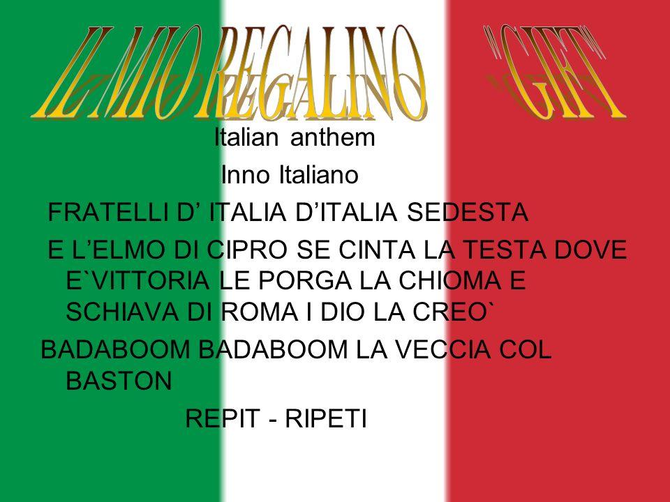 Italian anthem Inno Italiano FRATELLI D ITALIA DITALIA SEDESTA E LELMO DI CIPRO SE CINTA LA TESTA DOVE E`VITTORIA LE PORGA LA CHIOMA E SCHIAVA DI ROMA