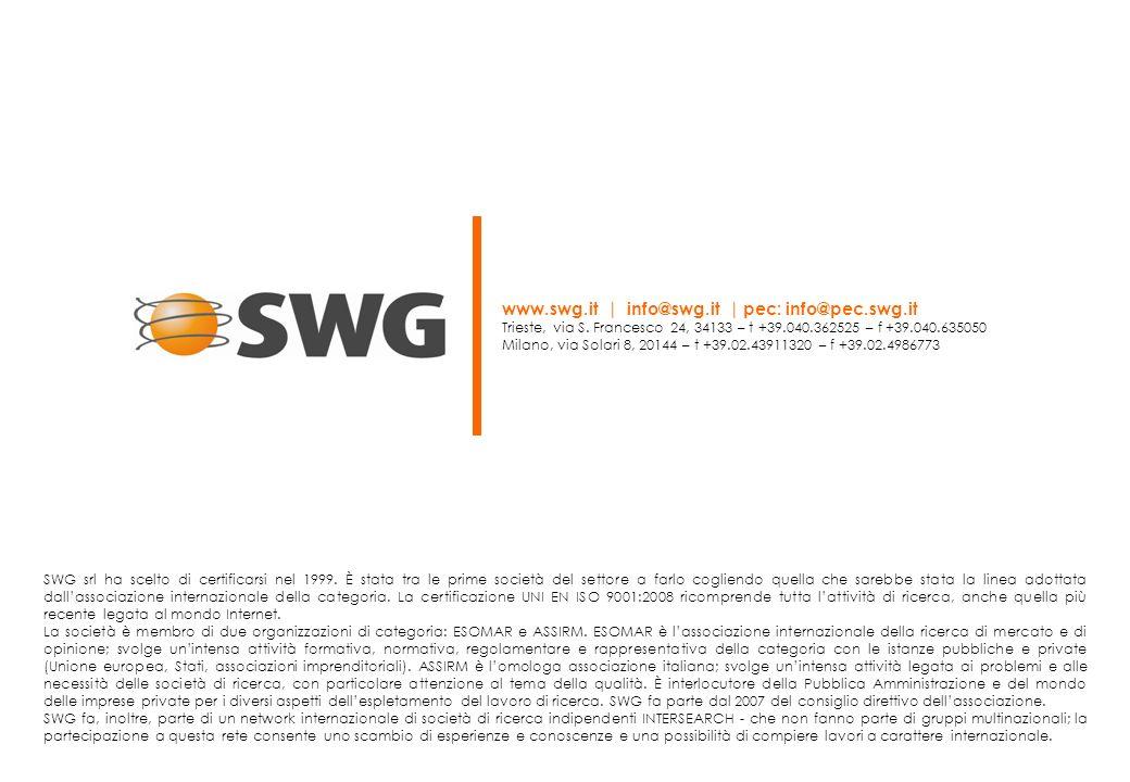 SWG srl ha scelto di certificarsi nel 1999. È stata tra le prime società del settore a farlo cogliendo quella che sarebbe stata la linea adottata dall