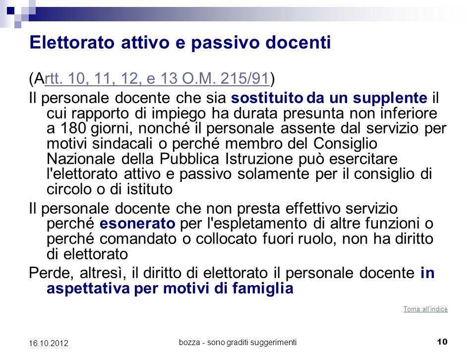bozza - sono graditi suggerimenti 10 16.10.2012 Elettorato attivo e passivo docenti (Artt. 10, 11, 12, e 13 O.M. 215/91)rtt. 10, 11, 12, e 13 O.M. 215