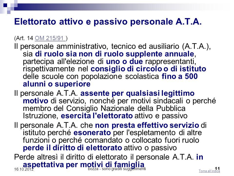 bozza - sono graditi suggerimenti 11 16.10.2012 Elettorato attivo e passivo personale A.T.A. (Art. 14 OM 215/91 )OM 215/91 Il personale amministrativo