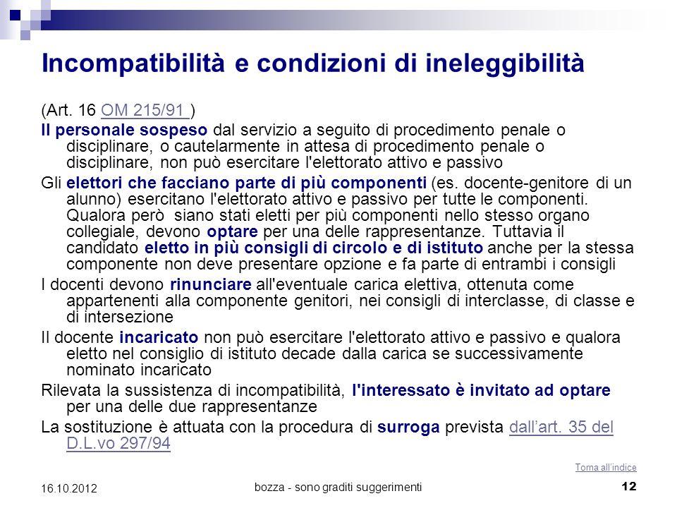 bozza - sono graditi suggerimenti 12 16.10.2012 Incompatibilità e condizioni di ineleggibilità (Art. 16 OM 215/91 )OM 215/91 Il personale sospeso dal