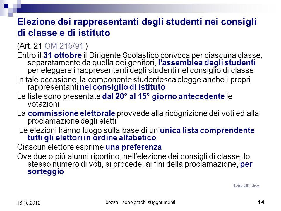 bozza - sono graditi suggerimenti 14 16.10.2012 Elezione dei rappresentanti degli studenti nei consigli di classe e di istituto (Art. 21 OM 215/91 )OM