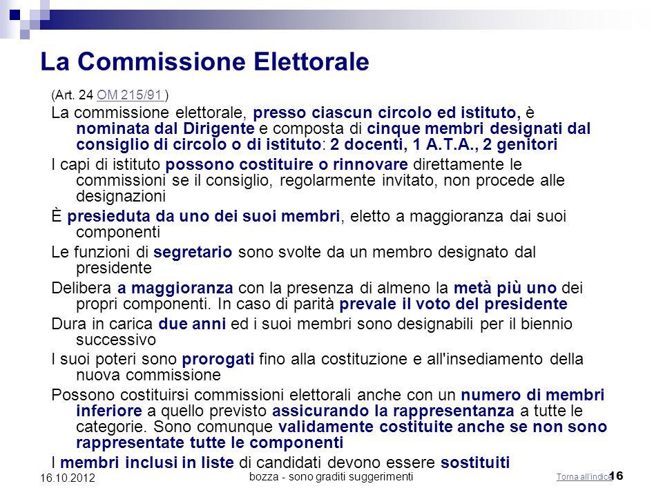 bozza - sono graditi suggerimenti 16 16.10.2012 La Commissione Elettorale (Art. 24 OM 215/91 )OM 215/91 La commissione elettorale, presso ciascun circ