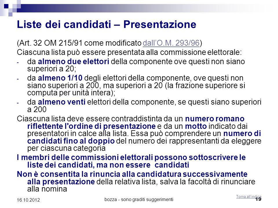 bozza - sono graditi suggerimenti 19 16.10.2012 Liste dei candidati – Presentazione (Art. 32 OM 215/91 come modificato dallO.M. 293/96)dallO.M. 293/96
