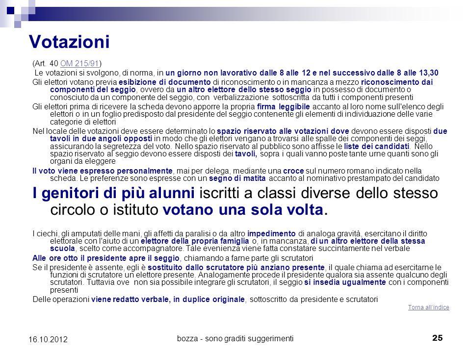 bozza - sono graditi suggerimenti 26 16.10.2012 Rappresentanti di lista - Scrutinio (Artt.