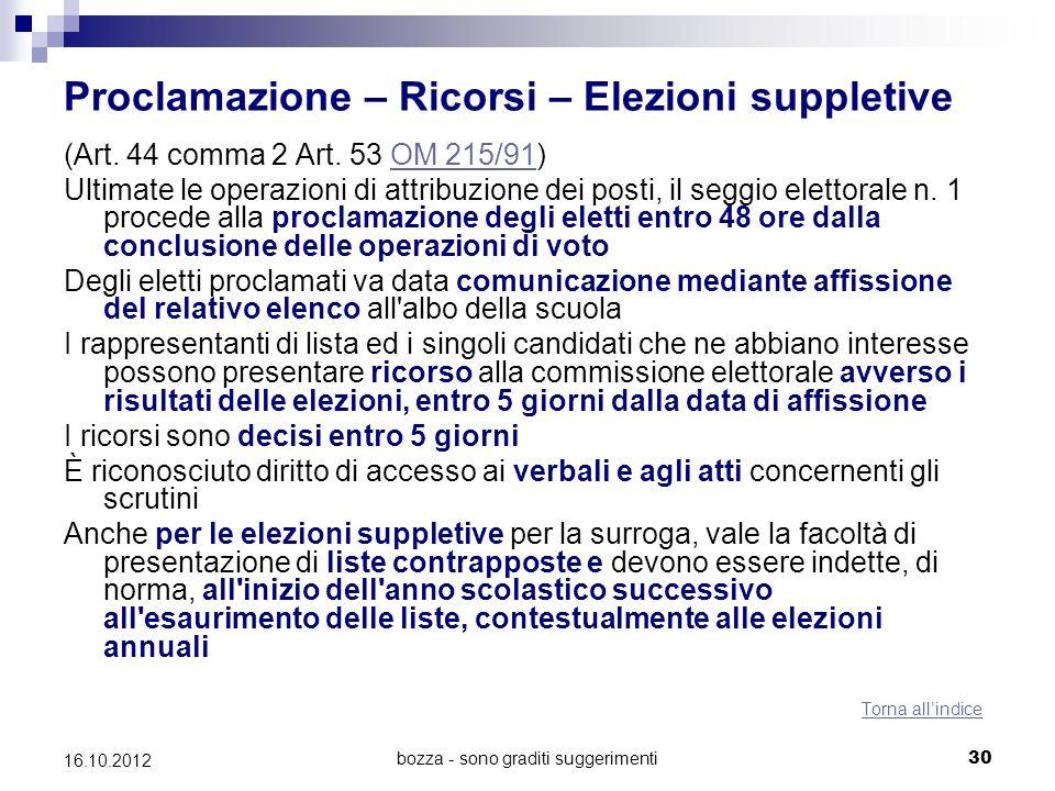 bozza - sono graditi suggerimenti 30 16.10.2012 Proclamazione – Ricorsi – Elezioni suppletive (Art. 44 comma 2 Art. 53 OM 215/91)OM 215/91 Ultimate le