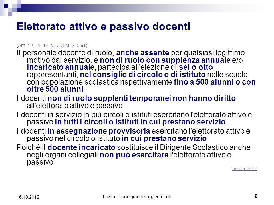 bozza - sono graditi suggerimenti 9 16.10.2012 Elettorato attivo e passivo docenti (Artt. 10, 11, 12, e 13 O.M. 215/91)rtt. 10, 11, 12, e 13 O.M. 215/