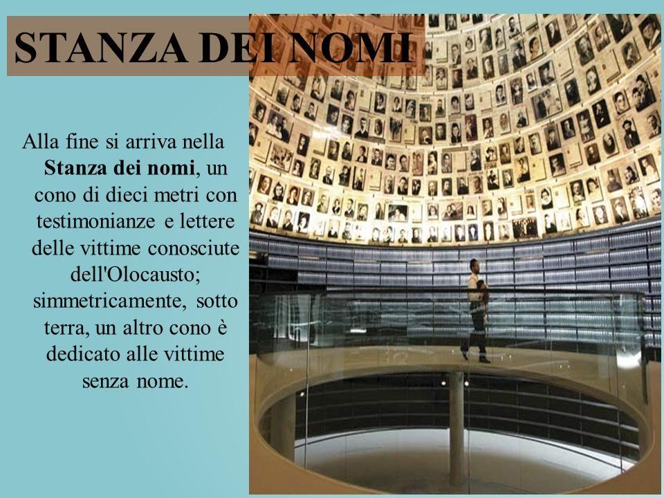 Alla fine si arriva nella Stanza dei nomi, un cono di dieci metri con testimonianze e lettere delle vittime conosciute dell'Olocausto; simmetricamente